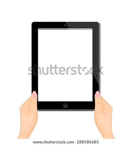 Illustration of the computer tablet in a hand of the woman isolated on a white background - raster - stock photo