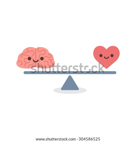 Illustration of the concept of balance between logic and emotion. Cartoon brain and heart with cute faces on a scale. Simple and modern flat style, isolated on white background.  - stock photo