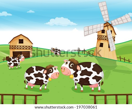 Illustration of the cows at the farm with a windmill