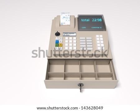 Illustration of the 3D rendered Cash Register