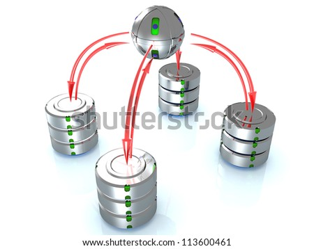 Illustration of the database on the mirror surface. ?7 - stock photo