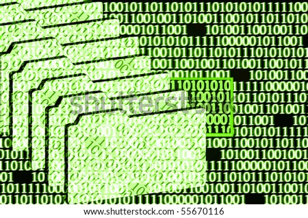 illustration of the detected error in binary code - stock photo