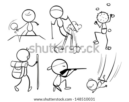 Illustration of the doodle designs of sporty people on a white background - stock photo