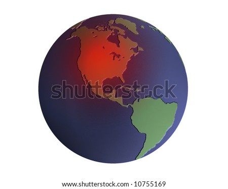 Illustration of the earth in blue and green with heated area over North America - stock photo