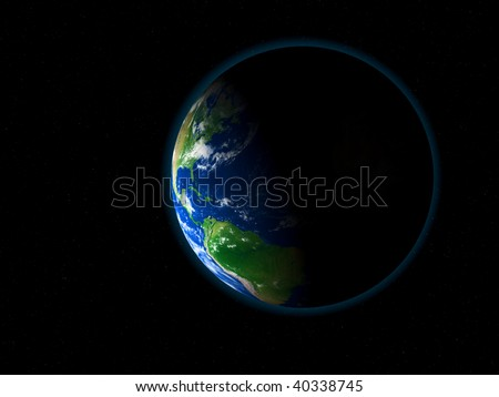 Illustration of the earth seen from space - 3d render. Texture, elevation, and clouds maps comes from http://www.shadedrelief.com