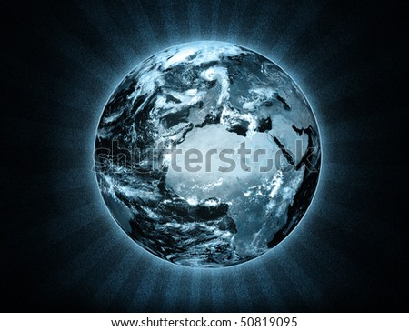 Illustration of the Earth with ray effect - stock photo