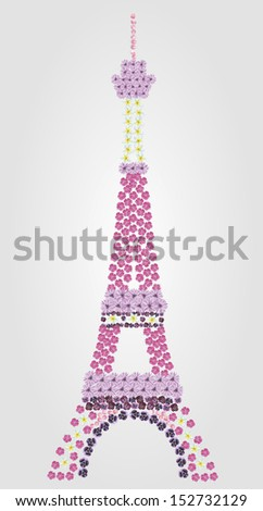 illustration of the Eiffel tower consisting of pansies, plumeria, gerbera, rose petals and rose geranium