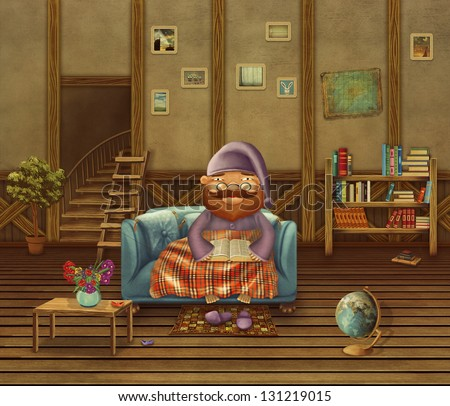 Illustration of the elderly person sitting on a sofa in the house, reading the book