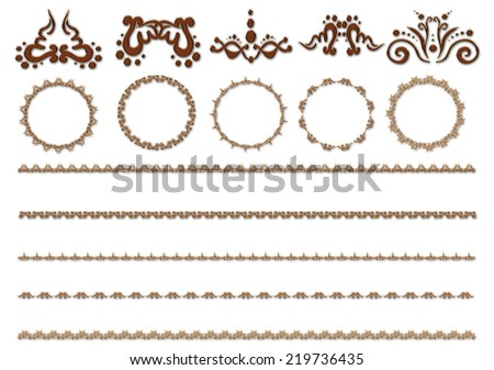 Illustration of the elegant patterns and round frames isolated on the white background - stock photo