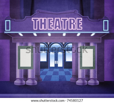 Illustration of the entry of a theater. Night scene with neon lights. The space in the playbills is empty, allowing a text to be written - stock photo