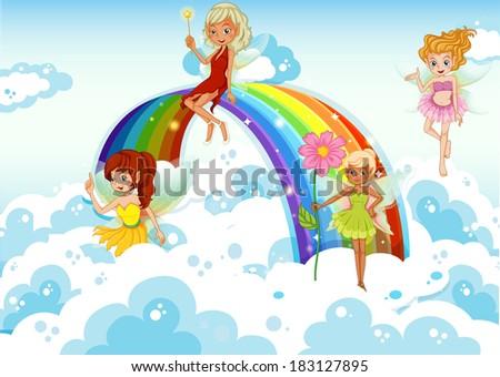 Illustration of the fairies above the sky near the rainbow - stock photo