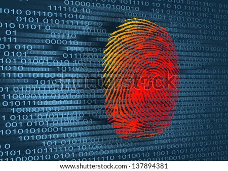 Illustration of the finger print and binary code - stock photo