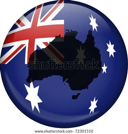 Illustration of the flag of Australia shaped like a globe with a map of Australia superimposed over the top. - stock photo