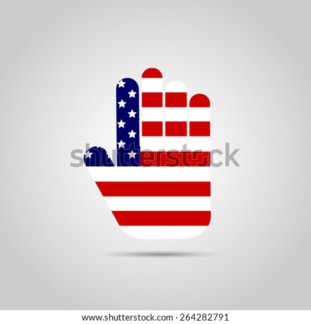 Illustration of the flag of the USA inside of an abstract hand design. - stock photo