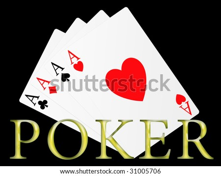 Illustration of the four aces signs of poker