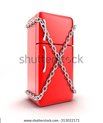 Illustration of the fridge with a chain on a white background - stock photo
