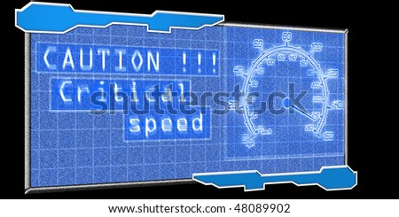 illustration of the futuristic speedometer with caution