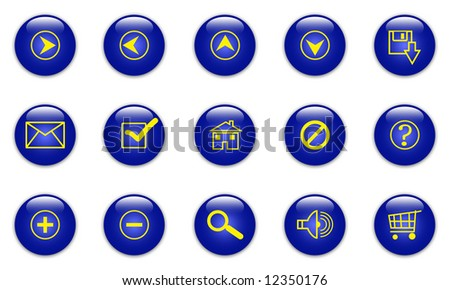 Illustration of the glassy blue web icons on white