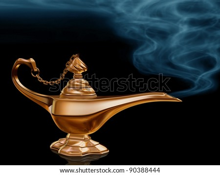Illustration of the golden magic lamp from Aladdin - stock photo