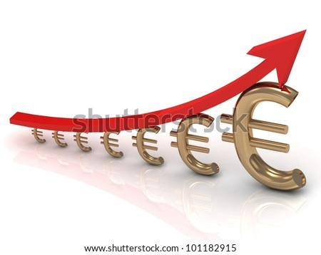 Illustration of the growth chart euros with a red arrow