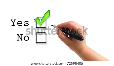 Illustration of the hand with a pen checking yes box on the white paper background - stock photo