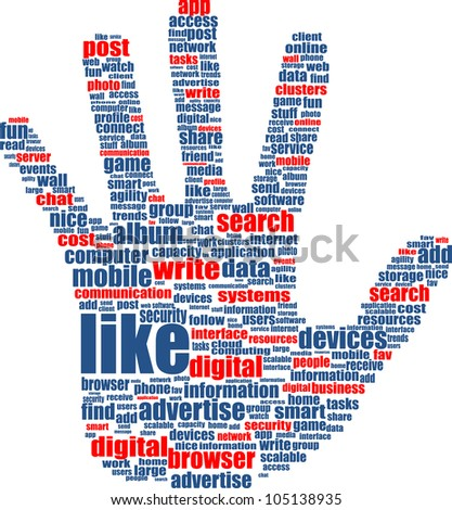 Illustration of the hands, which is composed of text keywords on social media themes. Isolated on white. Raster - stock photo