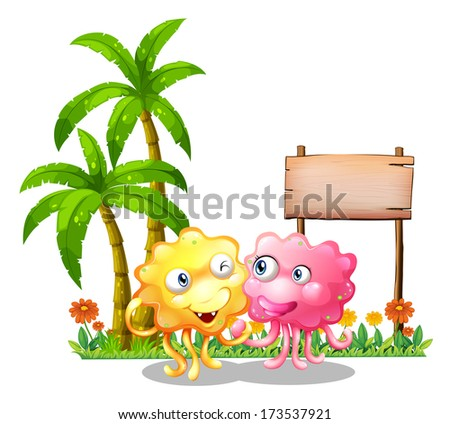 Illustration of the happy monsters near the empty signage beside the palm trees on a white background - stock photo