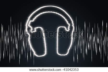 illustration of the headphones and sound wave - stock photo