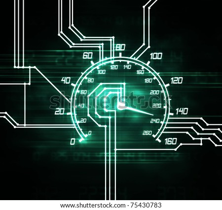 illustration of the hitech speedometer abstract microscheme - stock photo