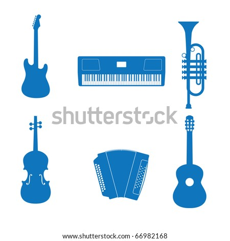 illustration of the icons music instrument - stock photo