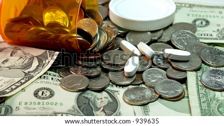 Illustration of the insanely high cost of prescription medication. - stock photo
