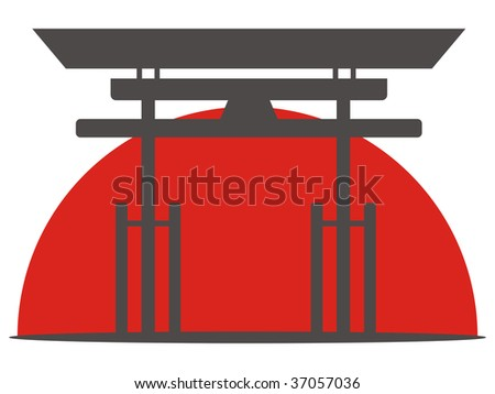 Illustration of the japanese gate and sunset
