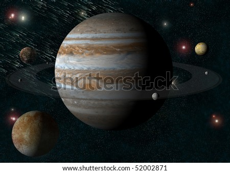 illustration of the jupiter from one of his moons - stock photo