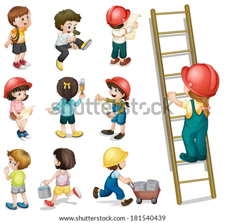 Illustration of the kids working on a white background - stock photo