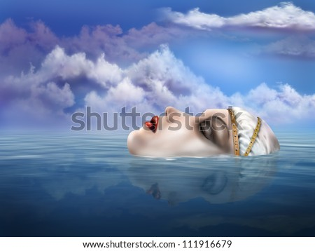 Illustration of the legendary Lady of the Lake appearing from beneath the water - stock photo