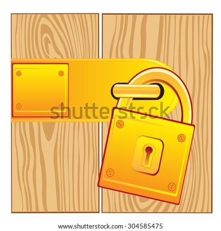 Illustration of the lock from gild on door.Raster version of artwork - stock photo