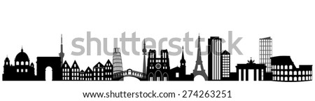 illustration of the main attractions of Europe. - stock photo