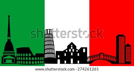 illustration of the main attractions of Italy on the background of the flag . - stock photo