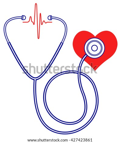 Illustration of the medical stethoscope and heart pulse symbols