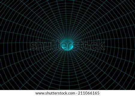 Illustration of the meshy wormhole model - stock photo