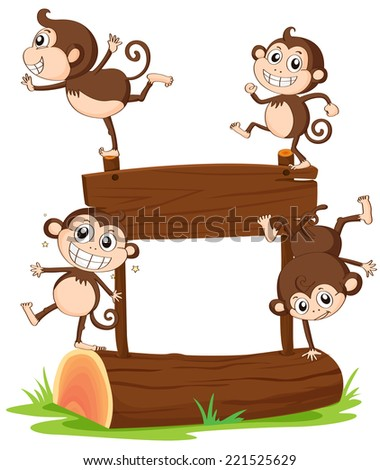 Illustration of the monkeys playing with the empty signboard on a white background