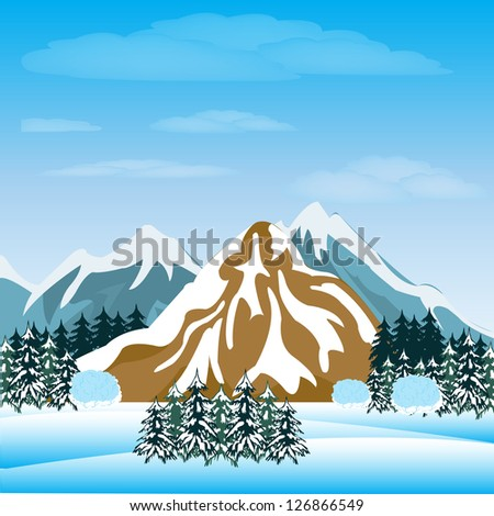 Illustration of the mountains and winter wood.Raster version