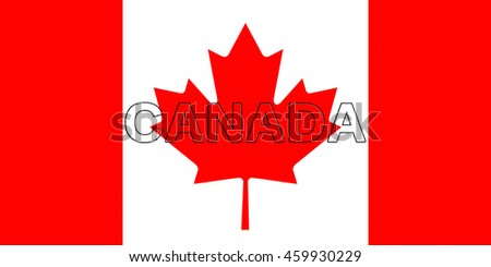 Illustration of the national flag of  Canada with the word Canada  on the flag - stock photo