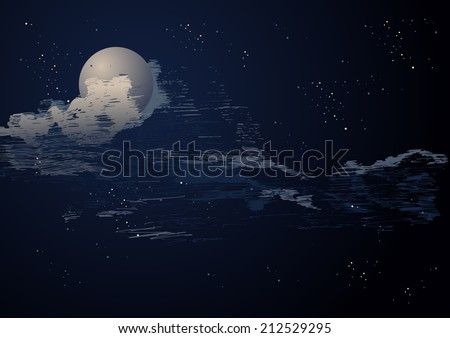 illustration of the night sky with the moon and stars.  - stock photo