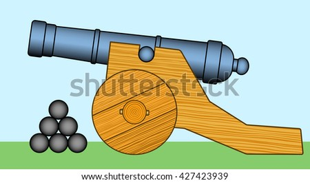 Illustration of the old cannon icon - stock photo