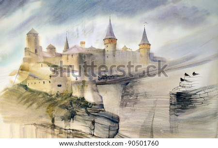 Illustration of the old castle of Kamianets-Podilskyi in Ukraine. Hand painted by watercolor. - stock photo