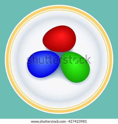 Illustration of the painted easter eggs on plate - stock photo