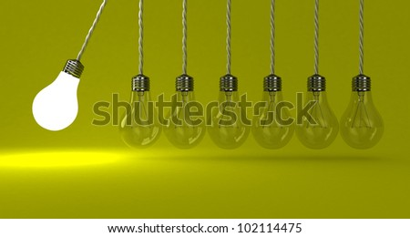 Illustration of the pendulum from lamps on a yellow background - stock photo