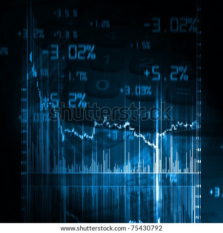 illustration of the red stock market chart - stock photo