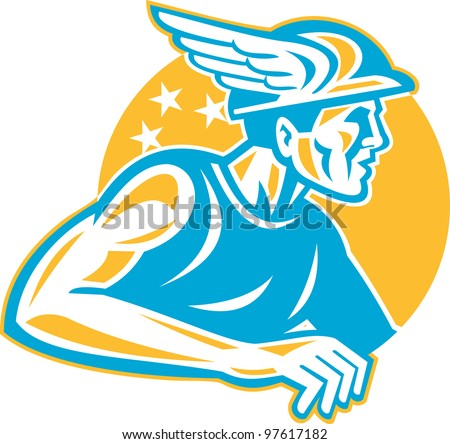 Illustration of the Roman God Mercury or Greek God Hermes with winged hat viewed from side done in retro style.